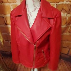 A.N.A Red Faux leather Motto jacket size M